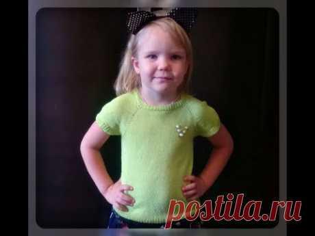 Летняя кофточка на девочку 5 лет, регланом сверху, спицами