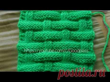 Вязание спицами. Узор Плетенка со снятыми петлями.