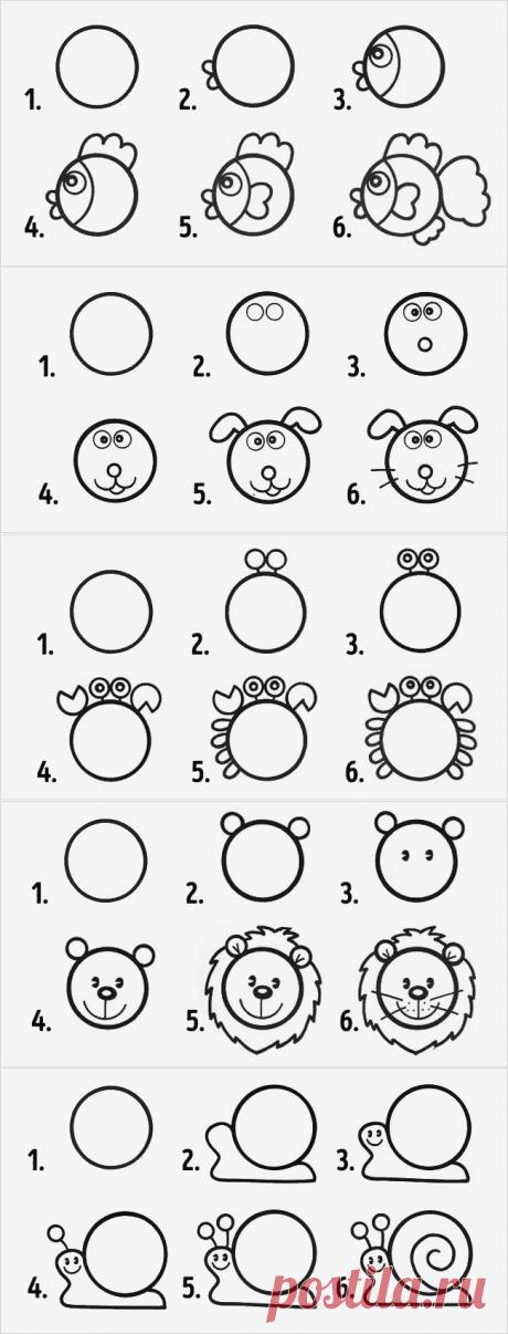 10 рисунков из кружков, которые легко нарисовать с детьми / Малютка