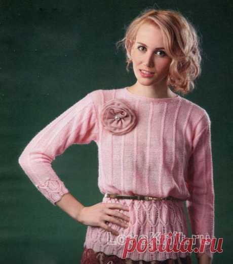 Розовая кофта с цветком схема спицами