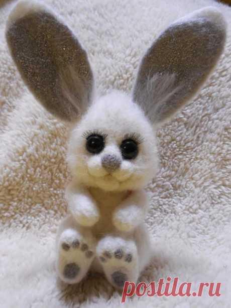 Зайка в технике сухое валяние Wolle innen Spielzeug Hase Hase Hase