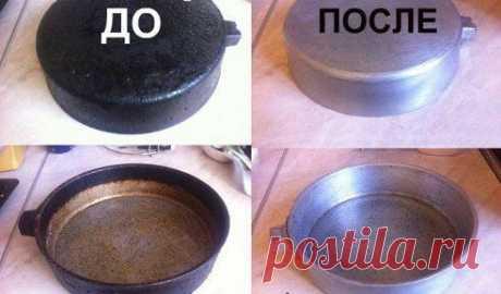 ОЧИСТИТЬ СКОВОРОДКУ ЗА 2 МИНУТИ! Очень быстрый способ очищения сковородки от нагара. Самый действенный метод. Отчистила так все сковородки и кастрюли. Теперь как новенькие) продолжение - ok.ru/group/52340410941516