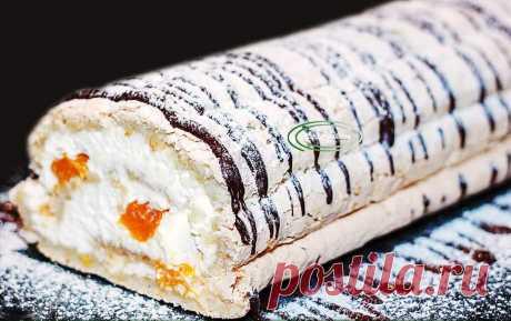 Праздничный торт тает во рту - новогодний меренговый рулет с мандаринами | IrinaCooking | Яндекс Дзен
