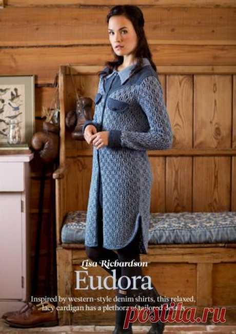Ажурный длинный кардиган Eudora Вязание кардигана Eudora, The Knitter 79. При вязании кардигана используется ажурный узор для основного полотна, который хорошо контрастирует с гладкими кокеткой, манжетами и планками, выполненными более темным оттенком голубого