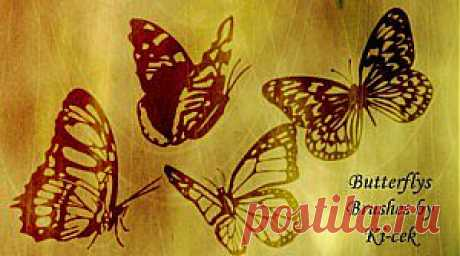 Скачать кисти для Фотошопа — Бабочки | Мир графики и дизайна