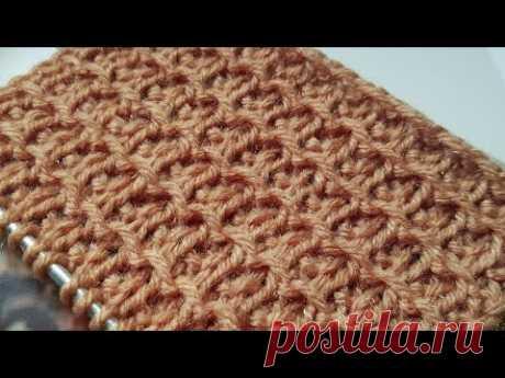 Вяжем вафельный узор спицами 🍂 knitting pattern.