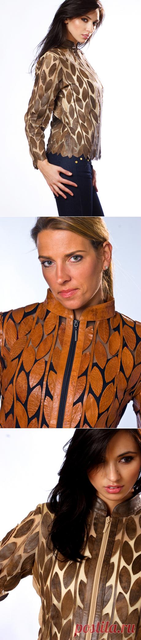 Интересная куртка из кусков кожи в разной цветовой гамме