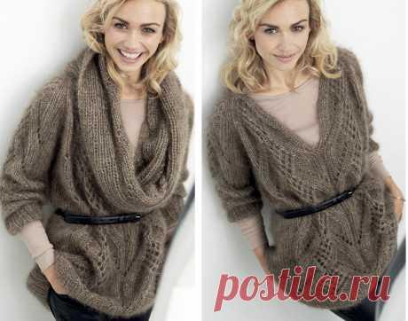 Пуловер со съемным воротником - схема вязания спицами с описанием на Verena.ru