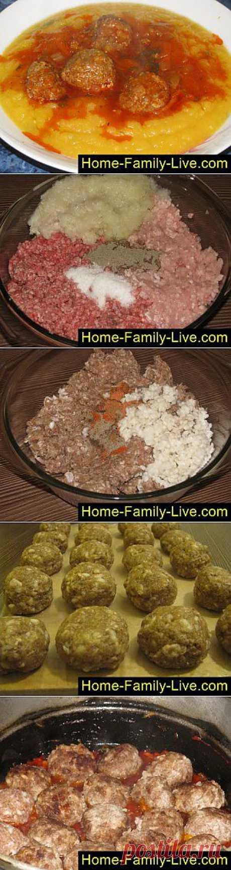 Кулинарные рецепты Тефтели в томатном соусе - пошаговый фоторецепт - мясные ёжики