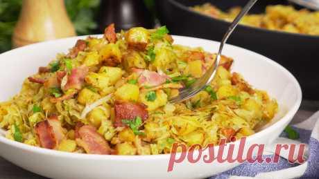 Жареный картофель с капустой и беконом - пошаговый рецепт с фото и видео от Всегда Вкусно!