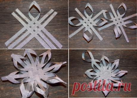 Как сделать 3D снежинки из бумаги и лент: пошаговый мастер-класс