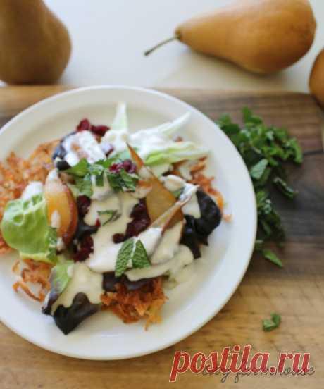 Жареные груши и розмарина Картофель Оладьи Harvest Салат-Вкус Времена года - Город Ферма
