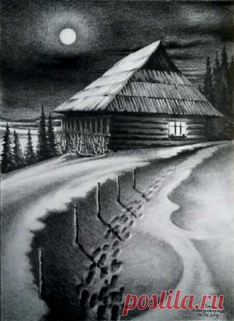ночной пейзаж рисунок– Google Поиск