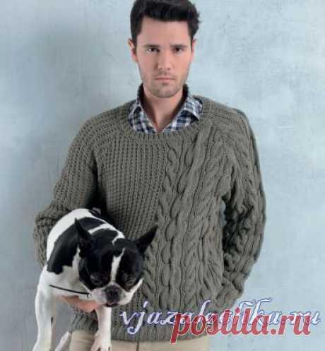 Ирландский пуловер спицами для мужчин