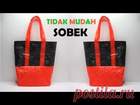 Daur ulang KANTONG PLASTIK ! Tas Belanja dari PLASTIK BEKAS Anti sobek ! Plastic Shopping bag crafts - YouTube