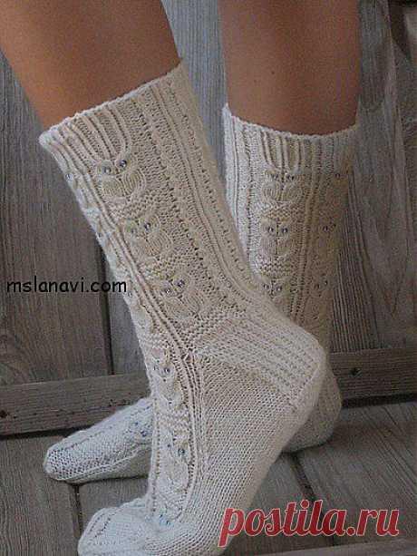 """Белые вязаные носки с узором """"совы"""""""