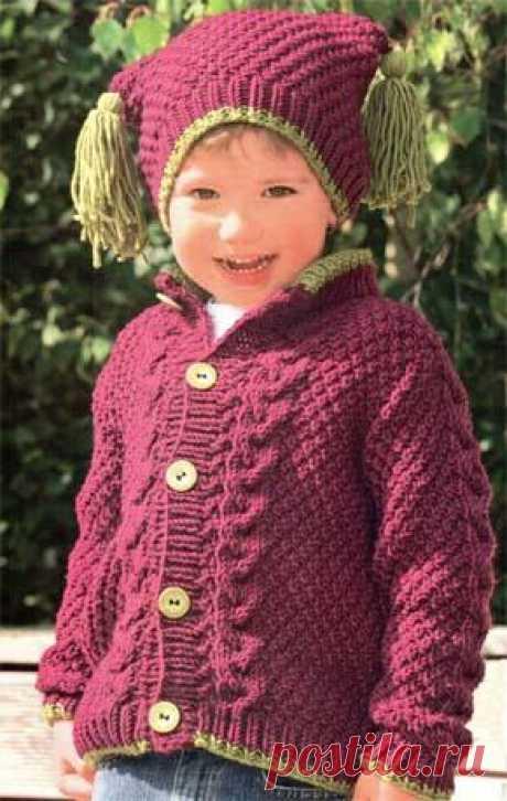 Вязание для детей. Вязаный кардиган на девочку. Модель для вязания 29.