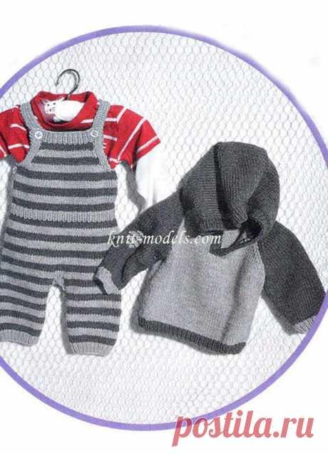 Пуловер с капюшоном и полукомбинезон. Вяжем малышам.