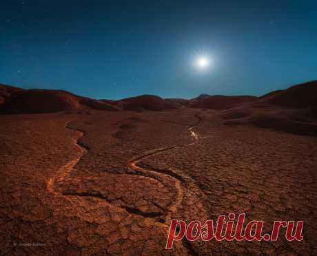 La noche de luna en la parcela De Kiin-Kerish, Kazajistán. El autor de la foto – Alejandro Kukrinov: nat-geo.ru\/photo\/user\/208171\/