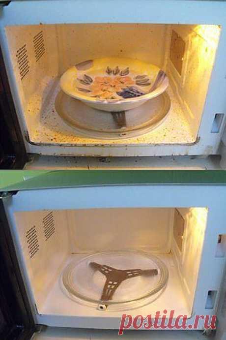 Чистим микроволновая печь за 5 минут.