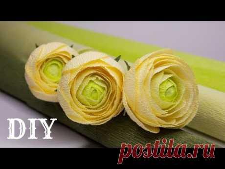 Ранункулюсы из гофрированной бумаги, цветы из бумаги / DIY Ranunculus from paper - YouTube  Сегодня в мастер классе покажу как сделать красивый ранункулюс из гофрированной бумаги.