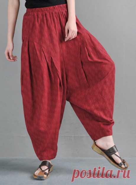 Red Jacquard linen Harem Pants-Women's Pants-High Waist | Etsy
