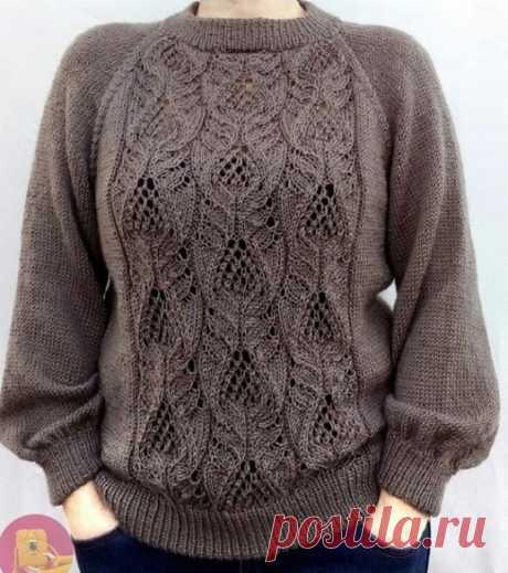 Нежные узоры спицами Узор для пуловера с ажурными листочками Узор спицами Колоски
