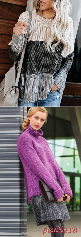 Вязаный пуловер из белого мохера, описание