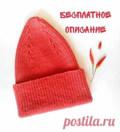 Симпатичная шапка спицами