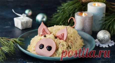Салат оливье в виде свиньи , пошаговый рецепт с фото