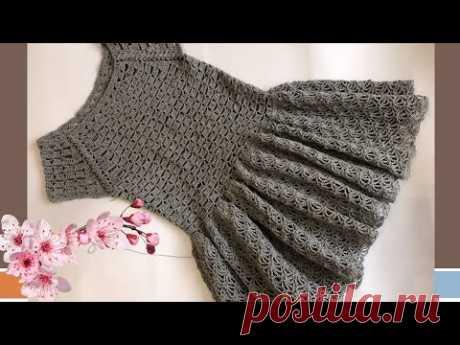 Вязаное платье крючком.Вязание крючком для начинающих.Кокетка реглан.Азиатский росток.Часть 1