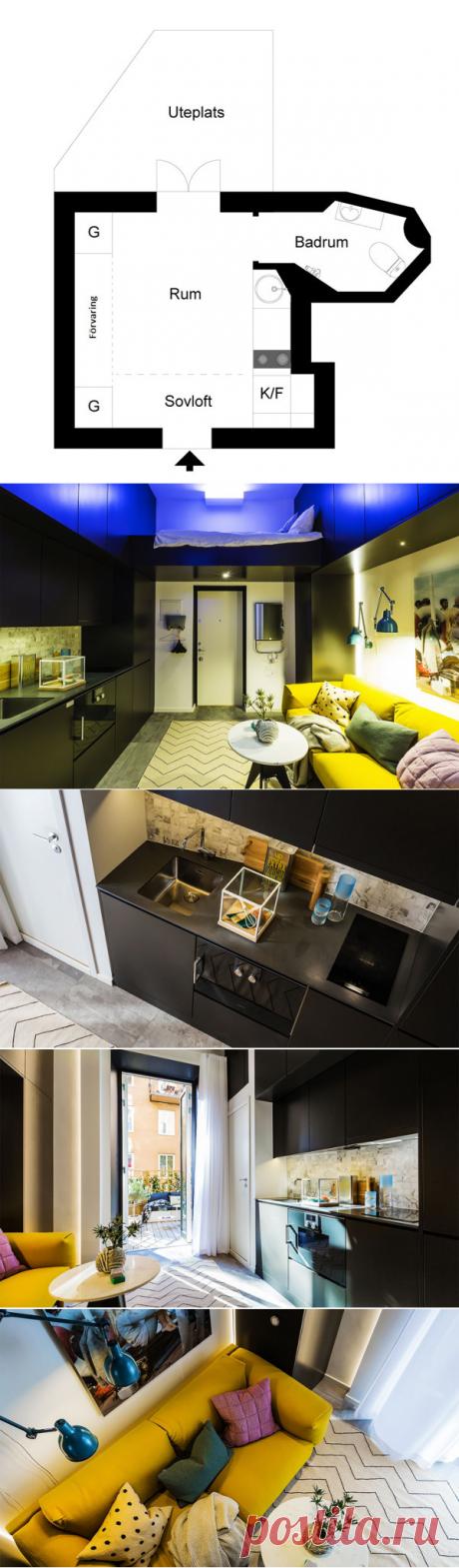 Нереально маленькая квартира в Швеции (16 кв. м) | Пример маленького жилья