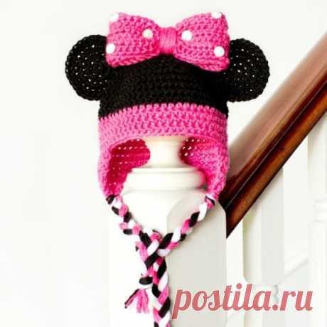 Вязание крючком: детская шапка Минни Маус Вязаная детская шапка Минни Маус крючком Схема вязания и описание изделия