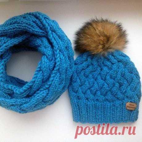 Красивая шапка-плетенка