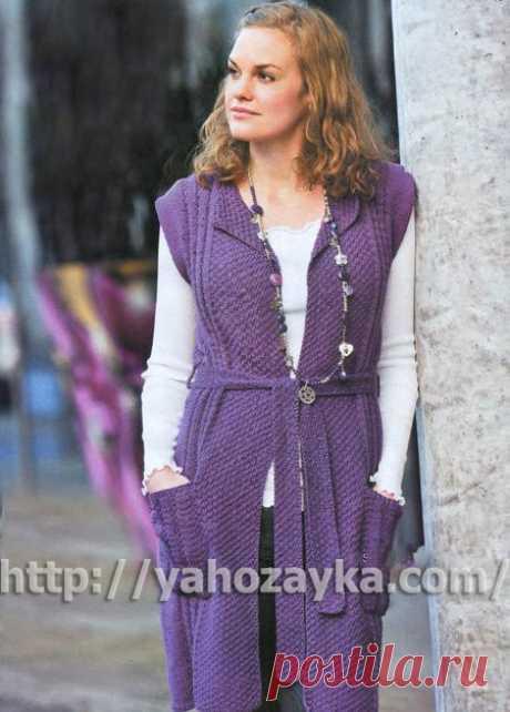 Женское длинное пальто с поясом без рукавов - схема вязания+ фото Схема вязания спицами женского длинного пальто с поясом без рукавов - вязание для домохозяек.