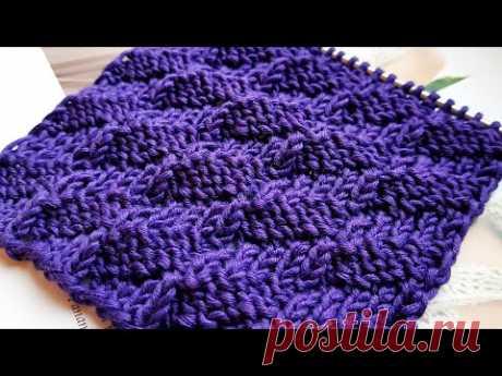"""Вяжем бомбический узор """"Гранёные ромбы"""" 📌👏 knitting pattern."""