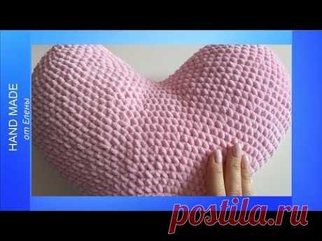 Подушка «Сердце» крючком. Подарки на День Святого Валентина. - YouTube