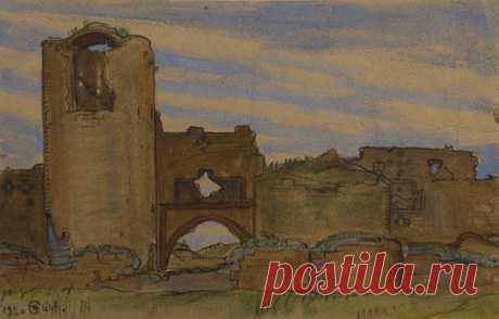 Թարյան (Թարխարարյան) Ստեփան Միքայելի 1893 - 1954) Անի (Ավագ դուռը պարսպի և աշտարակի հետ) (1920) ,թուղթ, ջրաներկ 12x18,8 սմ
