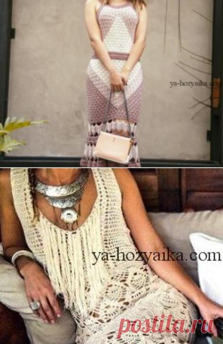 Женские платья крючком схемы. Вязаные платья крючком схемы и описание