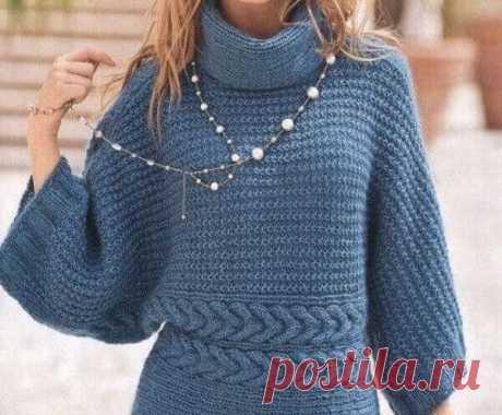 Стильное вязание: синий пуловер-кимоно из мохеровой пряжи… Вязаный пуловер – кимоно вяжется из мохеровой пряжи поперёк от рукава до рукава, двумя деталями – деталь спинки и деталь переда. Размер: 38