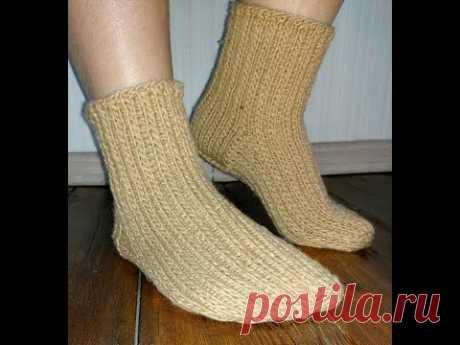Как связать тёплые прочные носки спицами. Подробный мастер-класс.