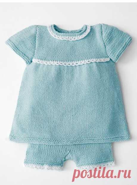 Туника и шортики с ажурной окантовкой спицами | Моё хобби.Вязание для детей. | Яндекс Дзен