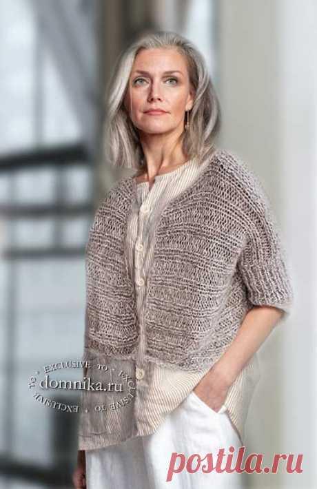 Простой вязаный жакет - стильные модели для женщин старше 60 лет