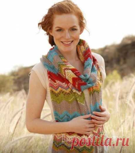 Длинный шарф с зигзагообразным узором схема спицами » Люблю Вязать