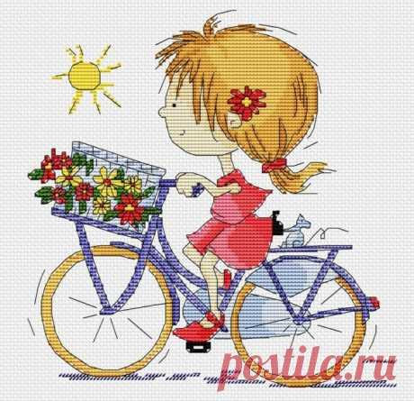 Девочка на велосипеде схема вышивки. Детская схема вышивки