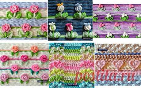 Семь узоров крючком Семь схем вязания узоров крючком. Эти узоры можно использовать для выполнения ковриков, пледов, сумок и отделки одежды…