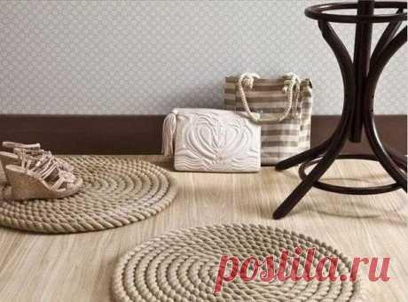 Самодельные коврики из верёвки