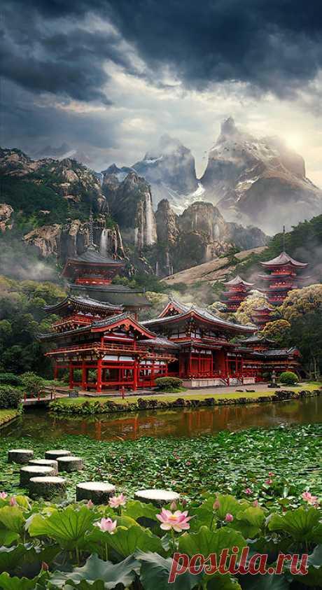 Создаём в Фотошоп пейзаж на тему Востока в стиле Мэт Пэйнт