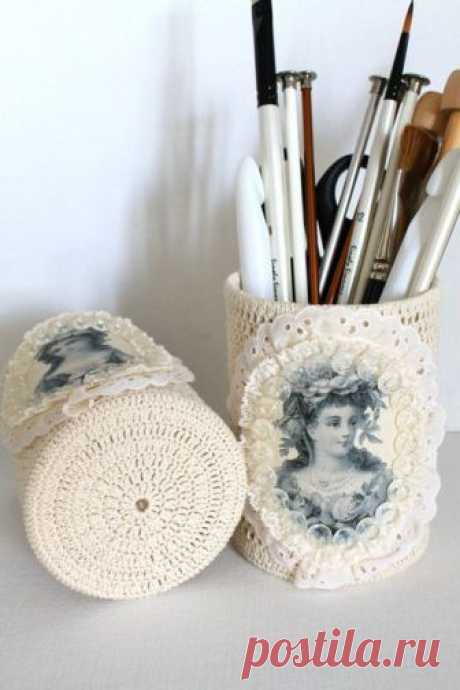 Винтажные банки: обвязка крючком и распечатка на принтере — Сделай сам, идеи для творчества - DIY Ideas