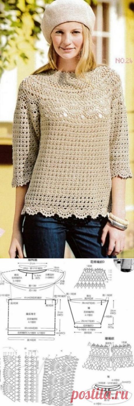 Пуловер с круглой кокеткой / Вязание